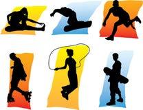 1 люд silhouettes спорт Стоковые Фото