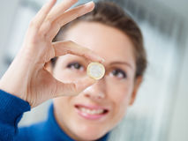 1 монетка евро Стоковые Изображения