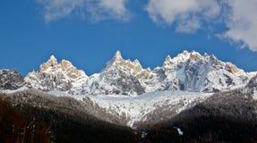 1 небо панорамы гор chamonix Стоковые Фотографии RF