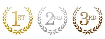 1-ое; 2-ое; эмблемы 3-их наград золотистые. Стоковая Фотография