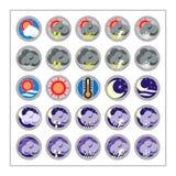 1 погода версии иконы установленная стоковое изображение