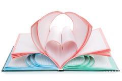 1 сердце 2 изолировало символ тетради Стоковая Фотография