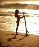1 серфер захода солнца девушки Стоковая Фотография