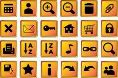 1 сеть икон золота кнопок Стоковая Фотография RF