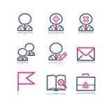 1 сеть икон контура цвета иллюстрация штока