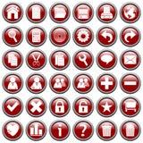 1 сеть кнопок красная круглая Стоковая Фотография RF