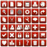 1 сеть красного квадрата кнопок Стоковая Фотография RF