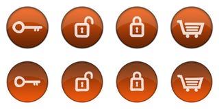 1 сеть лоснистого померанца кнопки 3d установленная Стоковая Фотография