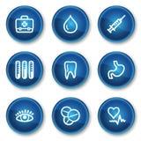 1 сеть микстуры икон круга кнопок сини установленная иллюстрация штока