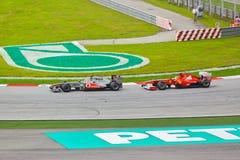 1 след гонки формулы автомобилей Стоковое Изображение RF