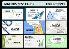 1 собрание 9 визитных карточек бесплатная иллюстрация