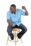 1 усмехаться счастливого человека управления дистанционный Стоковое Фото