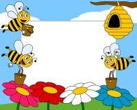 1 фото рамки шаржа пчел Стоковые Изображения RF