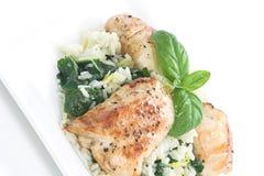 1 шпинат тарелки цыпленка Стоковые Фотографии RF