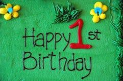 1-ый день рождения счастливый Стоковое Изображение