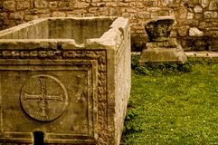 1.000 year old grave. Old grave in hagia sophia church, istanbul Royalty Free Stock Photo