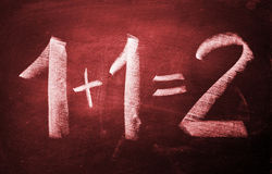 1+1=2. Exact sum of 1 +1 = 2 written on the blackboard Royalty Free Stock Photo