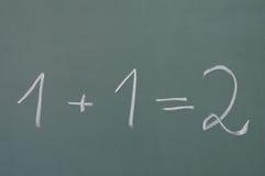 1+1=2. Math on the chalkboard Royalty Free Stock Photo