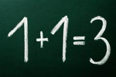 1+1=3 como cálculos matemáticos Imagen de archivo libre de regalías