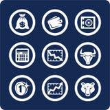 1 10个财务图标货币零件集 库存照片