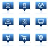 1蓝色泡影电子图标设置了演讲万维网 免版税库存图片