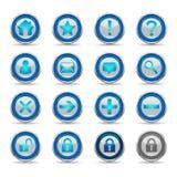 1蓝色图标设置了发光的万维网 免版税库存图片