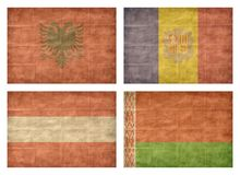 1/13 Flags of European countries. Vintage collection of european country flags isolated on white background. Albania, Andorra, Austria, Belarus vector illustration