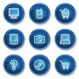 1蓝色按钮圈子电子图标设置了万维网 免版税库存图片