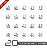 1 2 установленной иконы документов основ Стоковые Изображения