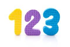 1 2 3个五颜六色的图泡沫 库存图片