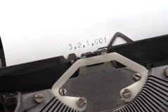 1 2 3是书面的老打字机 免版税库存照片