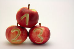1 2 3苹果 免版税库存照片
