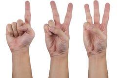 1 2 3 χέρια εμφανίζει Στοκ Εικόνες
