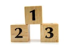 1 2 3 номера блоков деревянного Стоковое Фото