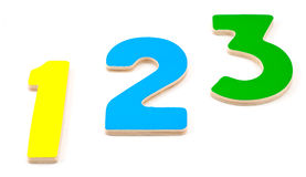1 2 3 номера деревянного Стоковое Изображение