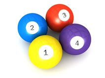 1 2 3 4 Numbers Billiard Balls With Numbers Royalty Free Stock Image