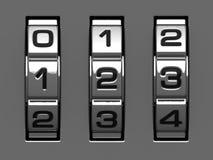 1, 2, 3 Abbildungen vom Codealphabet Stockbilder