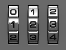 1, 2, 3 figures from code alphabet. 1, 2, 3 figures from combination lock alphabet stock illustration
