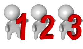 1-2-3 guys 3d. Simple 3d guys holding a red number Vector Illustration