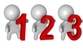 1-2-3 individuos 3d Foto de archivo libre de regalías