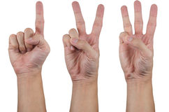 (1) 2 3 ręk przedstawienie Obrazy Stock