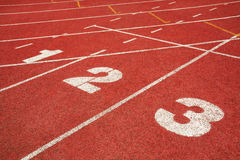 1,2,3 on a running track  line Royalty Free Stock Photos