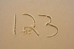 1,2,3, in the sand. Numbers 1, 2, 3, in the sand Royalty Free Stock Images