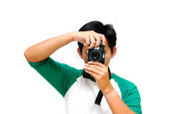 1,2,3 smile.. Photographer taking picture - white isolated background Stock Photo