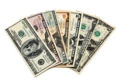 1 2 5 10 20 50 100个票据美元财产 免版税库存照片