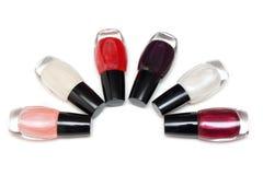 1 2 colorent les fioles rondes de vernis de nailwaer Image stock