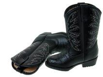 1 2 czarnych butów kowboj paker mody zdjęcie royalty free