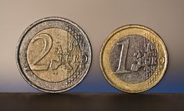 1 and 2 Euro Coins.  Royalty Free Stock Image