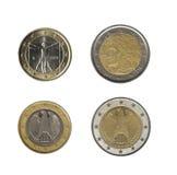1, 2 euro muntstukken Royalty-vrije Stock Foto's