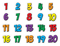五颜六色的数字设置了1-20 图库摄影
